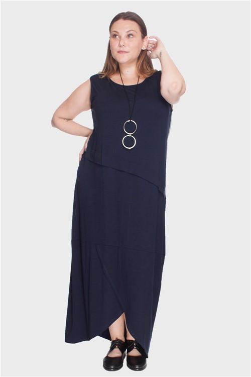 Vestido Barra Transpasse Plus Size Marinho-56/58