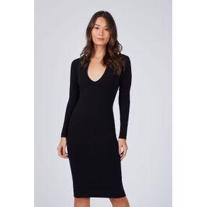 Vestido Básico Midi Preto - P