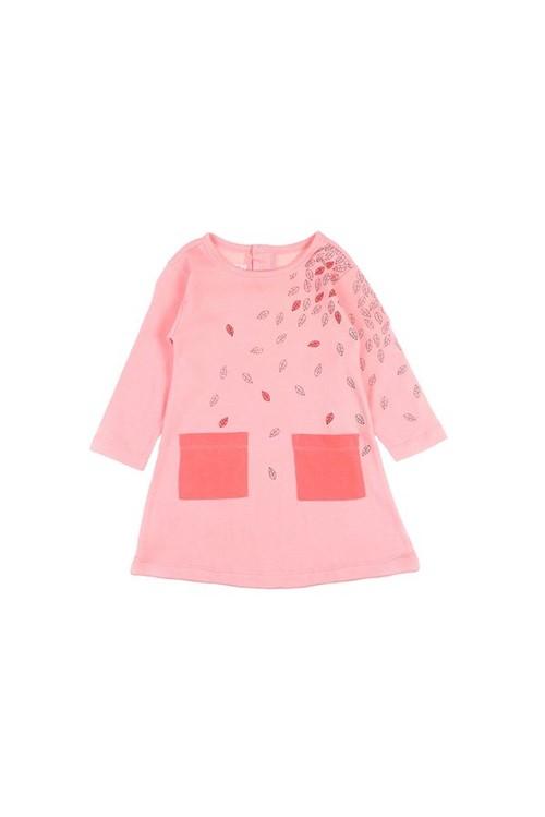 Vestido Bebê Amplo Folhas M - Rosa Claro