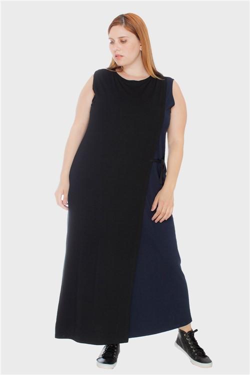 Vestido Bicolor Transpassado Plus Size Preto-Único