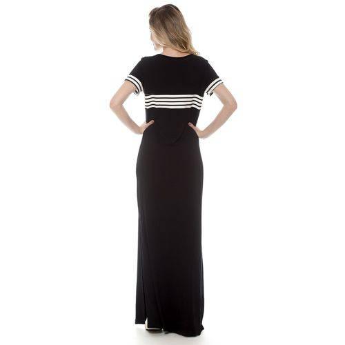 Vestido Bisô Longo Faixa Preto