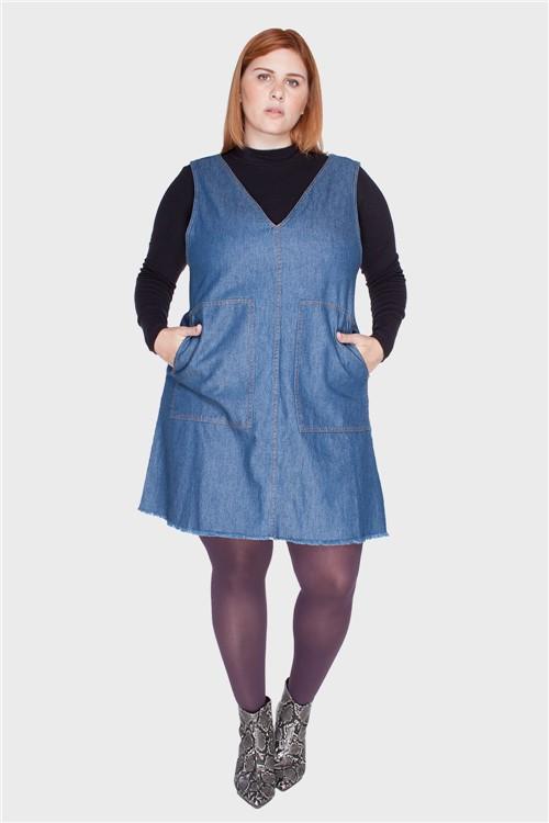 Vestido Bolsão Plus Size Azul-48