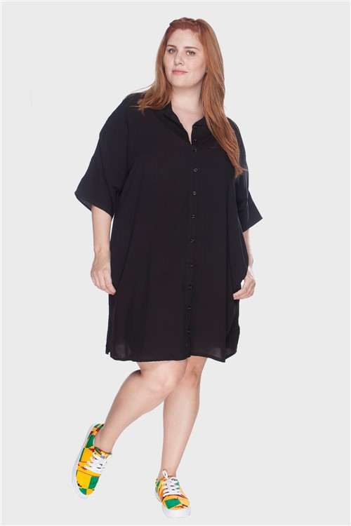 Vestido Chemise com Botões Plus Size Preto-48/50