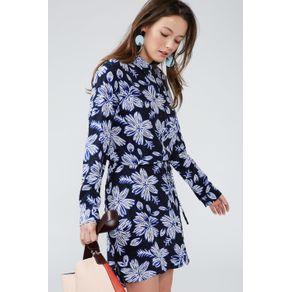 Vestido Chemise Estampado Est Floral Bicolor Azul - 40