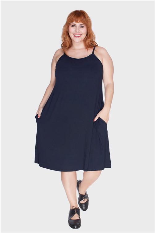 Vestido com Alças Finas Plus Size Marinho-46/48