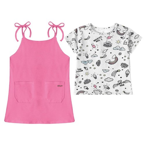 Vestido com Blusa Lilica Ripilica Baby Rosa