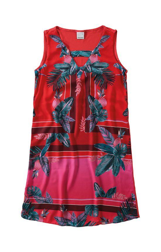 Vestido com Cetim Estampado Malwee Vermelho - G