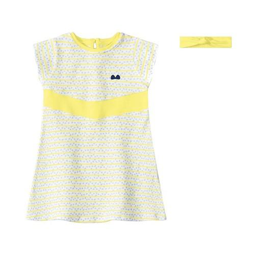 Vestido com Faixa de Cabelo Lilica Ripilica Amarelo Bebê Menina