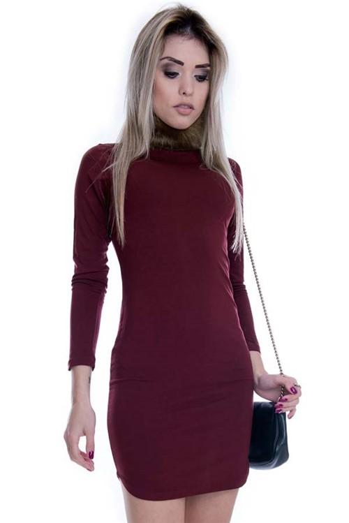 Vestido com Gola Alta de Pelo VE1429 - P