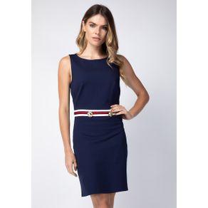 Vestido com Listra Azul G