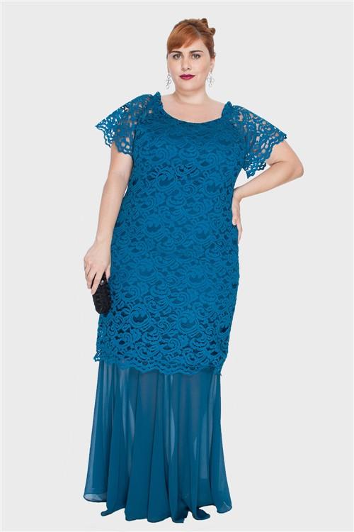 Vestido com Renda Plus Size Azul Petróleo-46