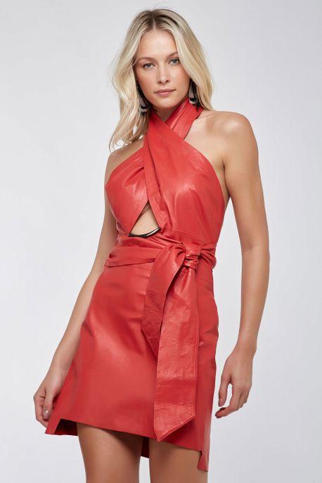 Vestido Couro Metal Nó Vermelho - 34