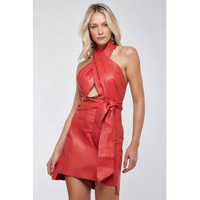 Vestido Couro Metal Nó Vermelho - 38