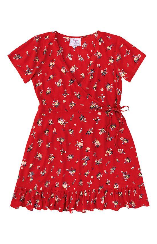 Vestido Crepe Floral Transpassado Enfim Vermelho - G