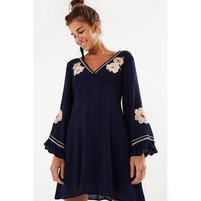 Vestido Curto Amor de Rosa Azul Navy - P