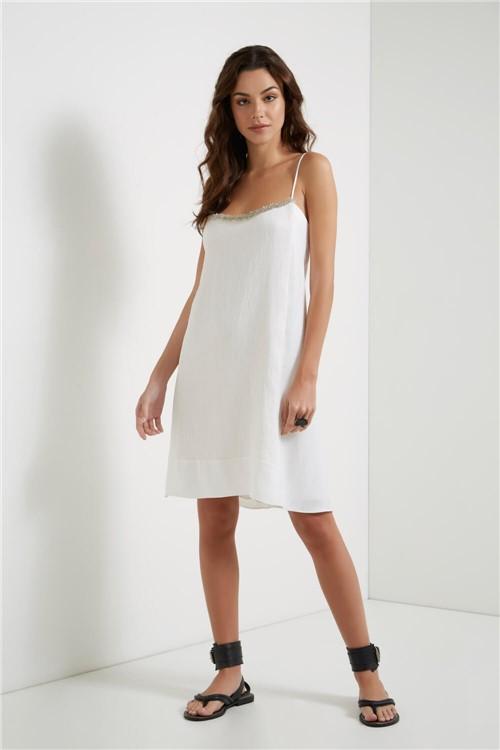 Vestido Curto Bordado Off White - G