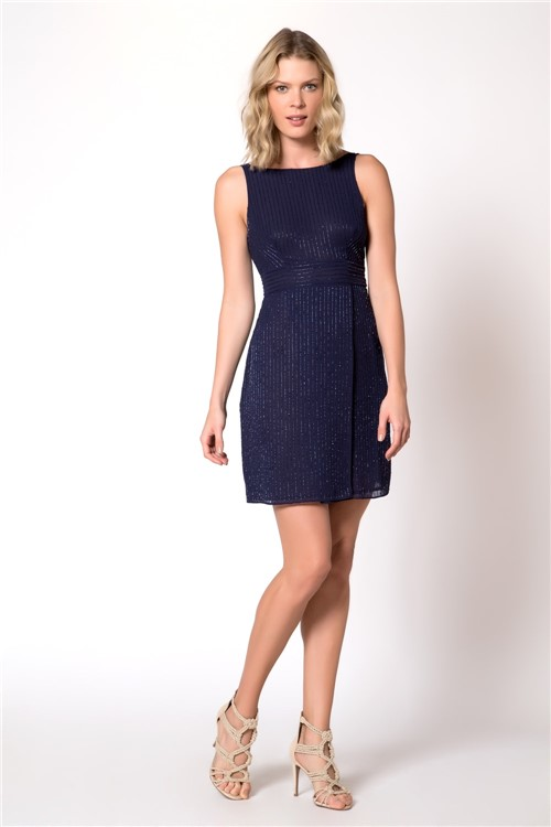 Vestido Curto Bordado Vidrilho Azul Noite - 44