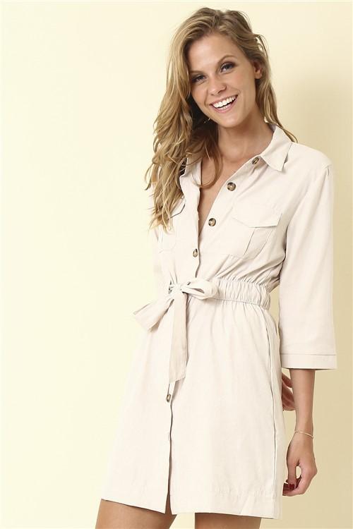 Vestido Curto Botões - Off White Tamanho: M