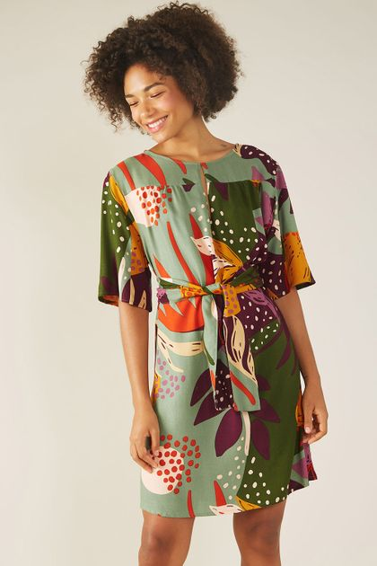 Vestido Curto Cantão Gota Est. Keiko - Multicolorido