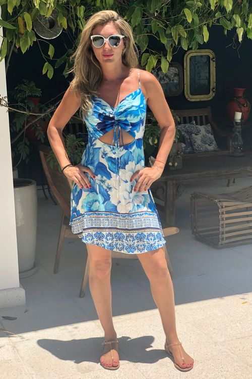 Vestido Curto Chita Azulejo Farm - P