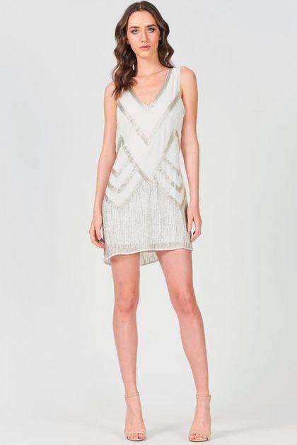 Vestido Curto Colcci Bordado Manualmente - Off White