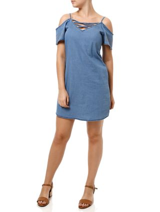 Vestido Curto Feminino Cativa Jeans Azul Claro