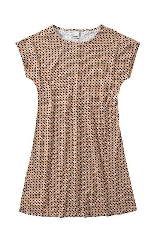 Vestido Curto Geométrico Malwee Bege - G