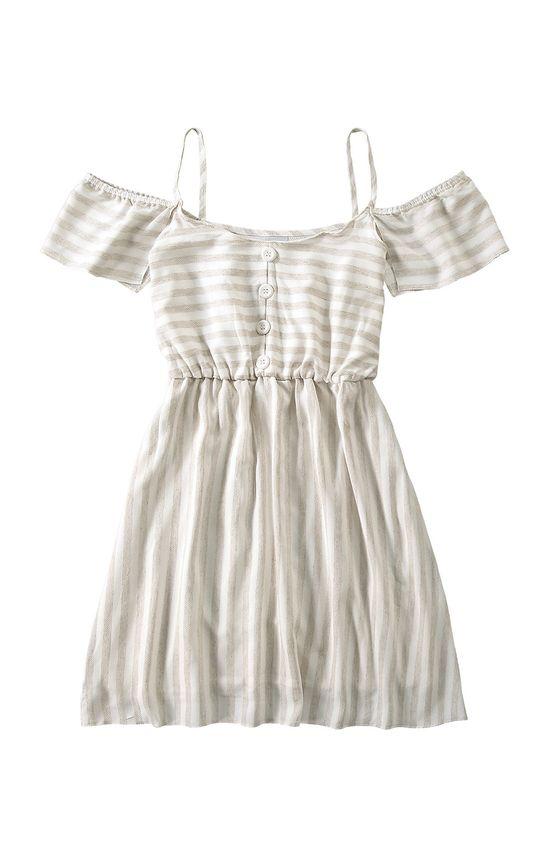 Vestido Curto Listrado Malwee Branco - G