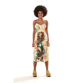 Vestido Midi Botão Patch Chita Multicolorido - M