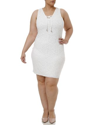 Vestido Curto Plus Size Feminino Off White