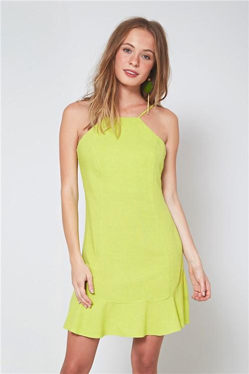 Vestido Curto Recortes Verde Palm - M