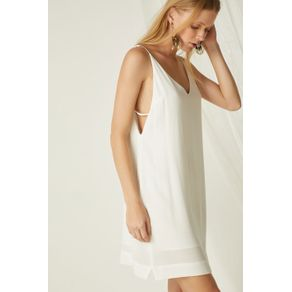 Vestido Curto Rolotê Decote Off White - 36