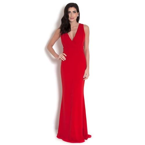 Vestido Dália Longo Badgley Mischka - Vermelho