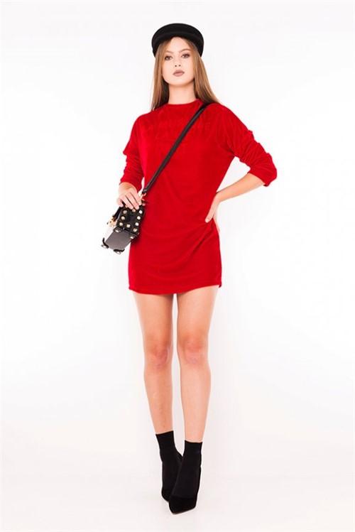 Vestido de Veludo com Lettering VE1846 - Kam Bess