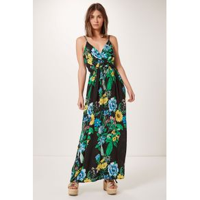 Vestido Decote Transpasse Preto/Verde - M