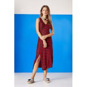 Vestido Decote V com Listras Vermelho Barcelos/Marinho - P