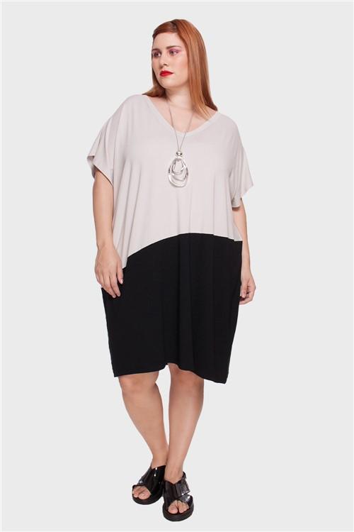 Vestido Diagonal Plus Size Areia-Único