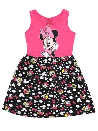 Vestido Disney Infantil para Menina - Rosa/preto