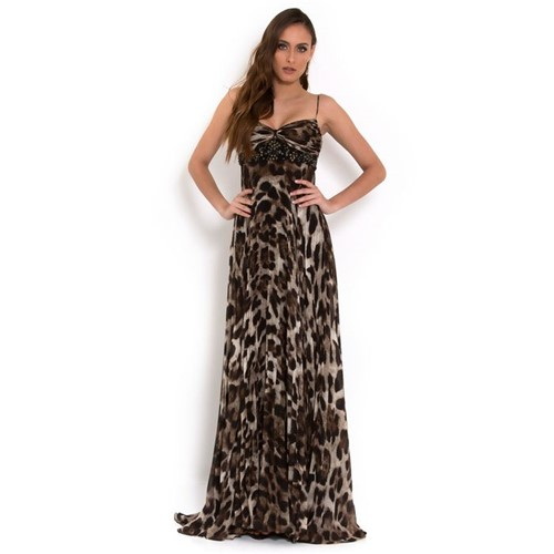 Vestido Domenica Longo em Seda Plissada Badgley Mischka - Estampado