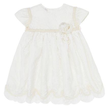 Vestido em Renda Flores & Pérolas Marfim - Roana