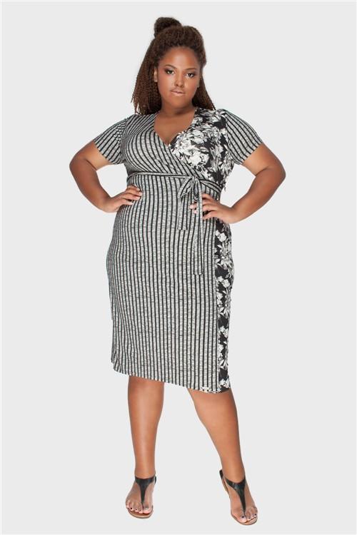 Vestido Encantador Plus Size Preto-48