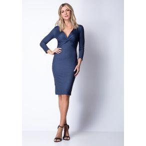 Vestido Estampado Midi Azul GG