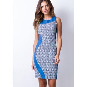 Vestido Estampado Regata Azul G