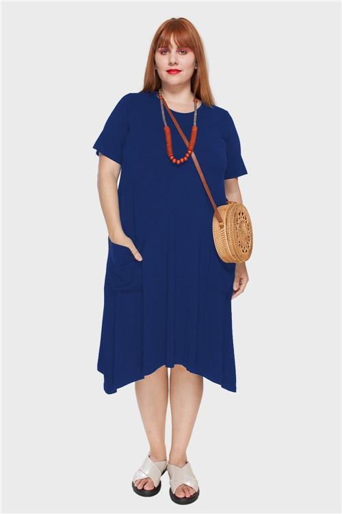 Vestido Evasê com Bolsos Plus Size Azul-48/50