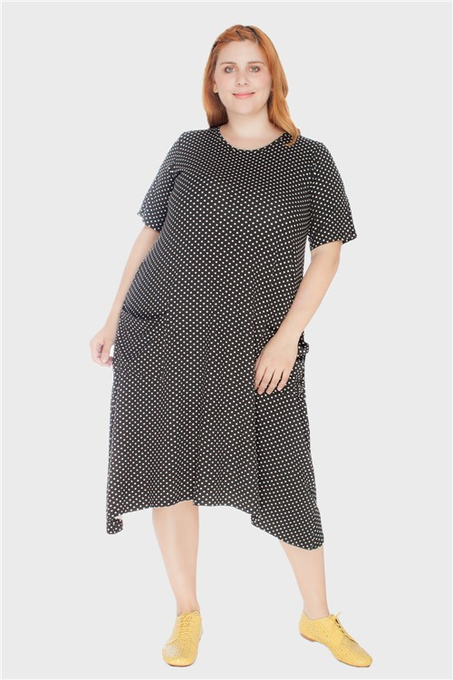 Vestido Evasê com Bolsos Poá Plus Size Preto-46/48