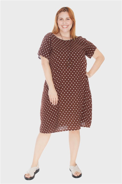 Vestido Evasê com Tira Plus Size Marrom-46/48