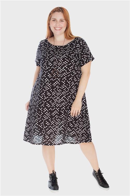 Vestido Evasê com Tira Plus Size Preto-46/48