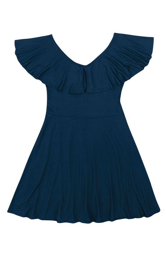 Vestido Evasê Liso Malwee Azul Escuro - M