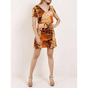 Vestido Feminino Autentique Bege/laranja GG