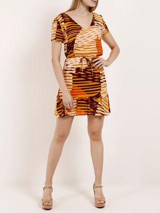 Vestido Feminino Autentique Bege/laranja